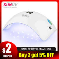 SUNUV SUN8 lámpara de uñas LED UV 48W secador de Gel de uñas 30s 60s temporizador 90s modo de bajo calor curación UV LED geles uñas polaco herramientas de arte