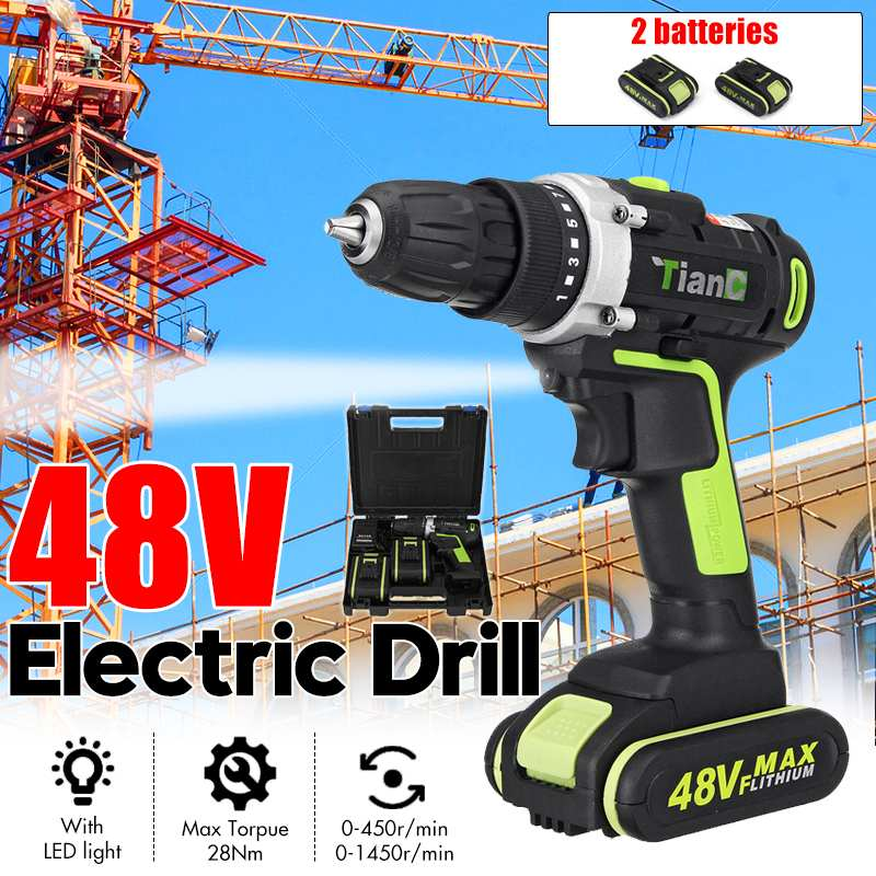 48V 2 Speed Cordless Drill Electric Screwdriver Mini Wireless Power Driver With 1/2pcs DC Lithium Ion Battery|Electric Drills| |  -