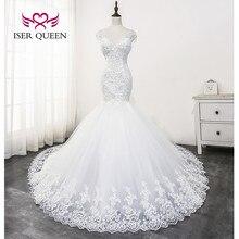 Vestido de novia de sirena de encaje con cuentas de cristal 2020 nuevo cuello en V Gran tren Sexy sin espalda vestido de novia Color blanco WX0179