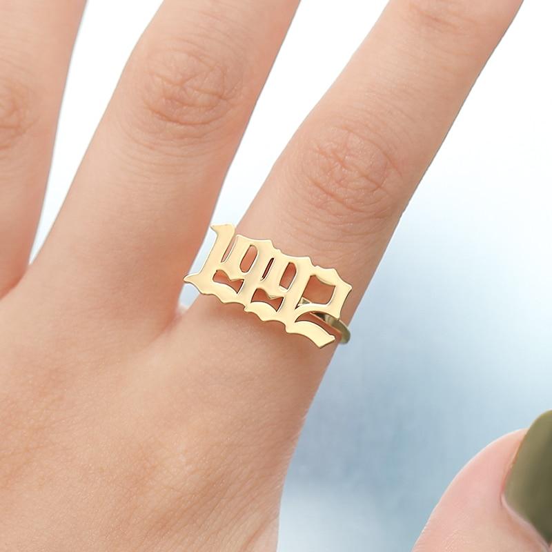 Dostosowane pierścienie numer pierścień pierścienie ze stali nierdzewnej spersonalizowane numer pierścień rok 1999 1996 1998 złota biżuteria na prezent dla przyjaciela