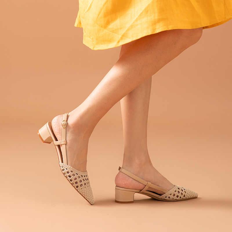 BeauToday 샌들 여성 정품 암소 가죽 제직 세부 지적 발가락 버클 스트랩 여름 숙녀 메드 힐 신발 수제 31094