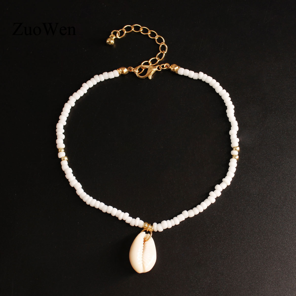 Bohemia White Seed Beads Foot Leg Ankle Bracelet Handmade Beaded Ocean Beach Natural Shell Anklets For Women Beach Jewelry K249