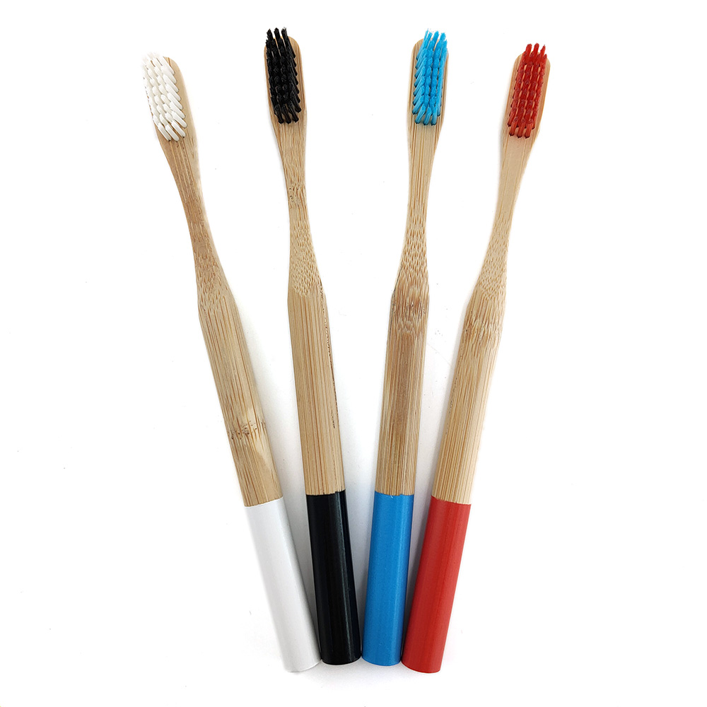 Natural Bamboo Handle Toothbrush Rainbow Colorful Whitening Soft Bristles Bamboo Toothbrush Eco-friendly Oral Care