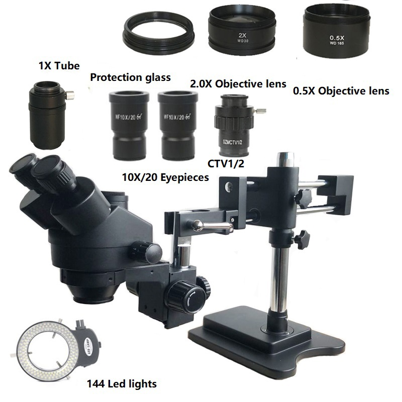 7X-45X Double Boom Zoom Simul Focal Trinocular Stereo Microscope 0.5X 2.0X Objective Lens 144 Led Lights Phone PCB Repair Tools