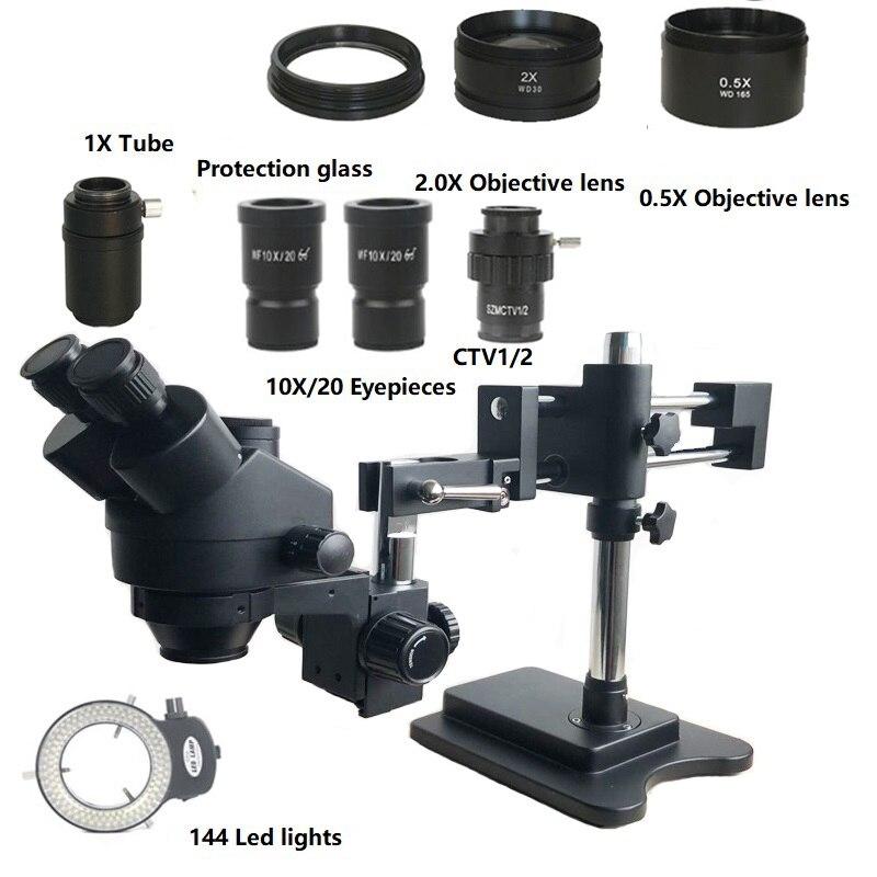 7X-45X Double Boom Zoom Simul Focal trinoculaire stéréo Microscope 0.5X 2.0X objectif objectif 144 Led lumières téléphone PCB outils de réparation