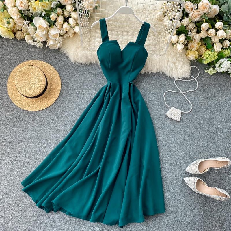 Elegant Vintage Sleeveless V-Neck Bandage Dress 5