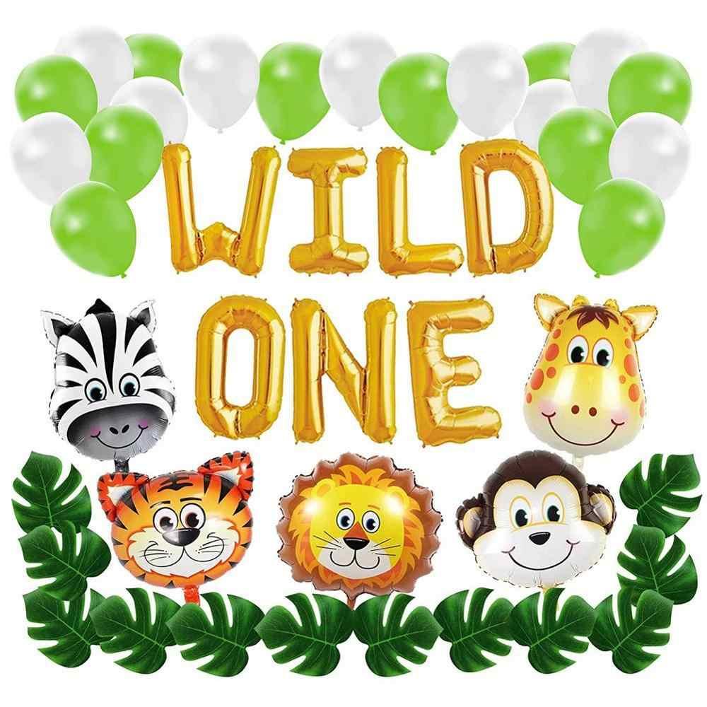 Sauvage un ballon bannière ensemble enfants bébé douche premier anniversaire artificiel feuilles de palmier Safari Zoo thème fête tigre singe Lion