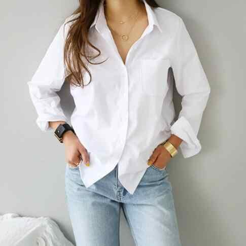 2019 المرأة الربيع واحد جيب قميص المؤنث بلوزة أعلى طويلة الأكمام بدوره إلى أسفل طوق OL نمط الأبيض النساء القوطية البلوزات DV702
