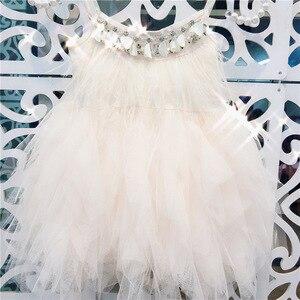Платье принцессы для девочек, платье-пачка с бусинами для тяжелой работы, лето 2019, плиссированное платье-пачка с перьями, одежда для маленьких девочек 1-7 лет, GDR612