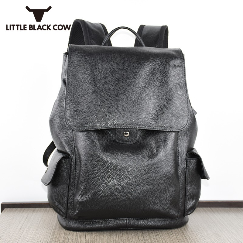 Fashion Casual Laptop Backpack School Book Bags Mens Genuine Leather Backpack Female Travel Bagpack Big Capacity Mochila Hombre