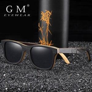 Image 3 - GM spolaryzowane okulary kobiety mężczyźni warstwowa deskorolka drewniana rama kwadratowy styl okulary na okulary damskie w drewnianym pudełku S5832