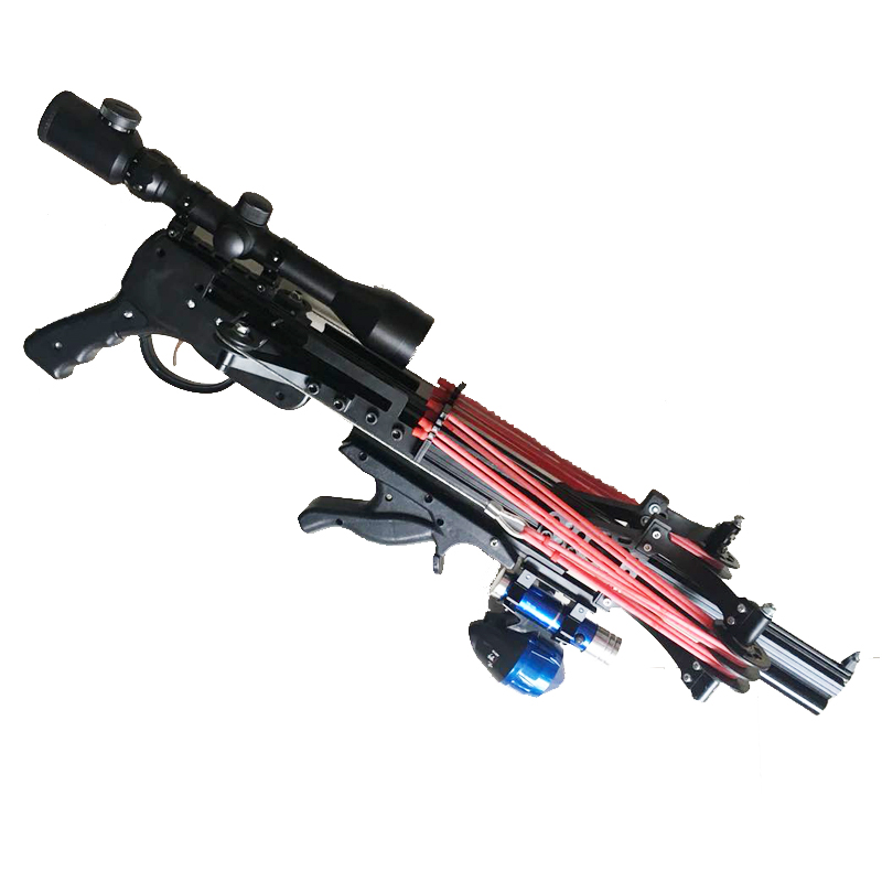 Semi Automatic Slingshot Hunting Fishing Bow Crossbow Catapult Reel Multifunction Steel Ball Ammo Arrow Continuous Shooting
