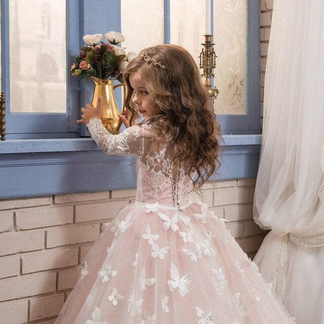 Nouveau nœud dentelle robe de soirée de Maria longueur de plancher a-ligne robe de Festival à manches longues belle robe pour filles Piano Costume