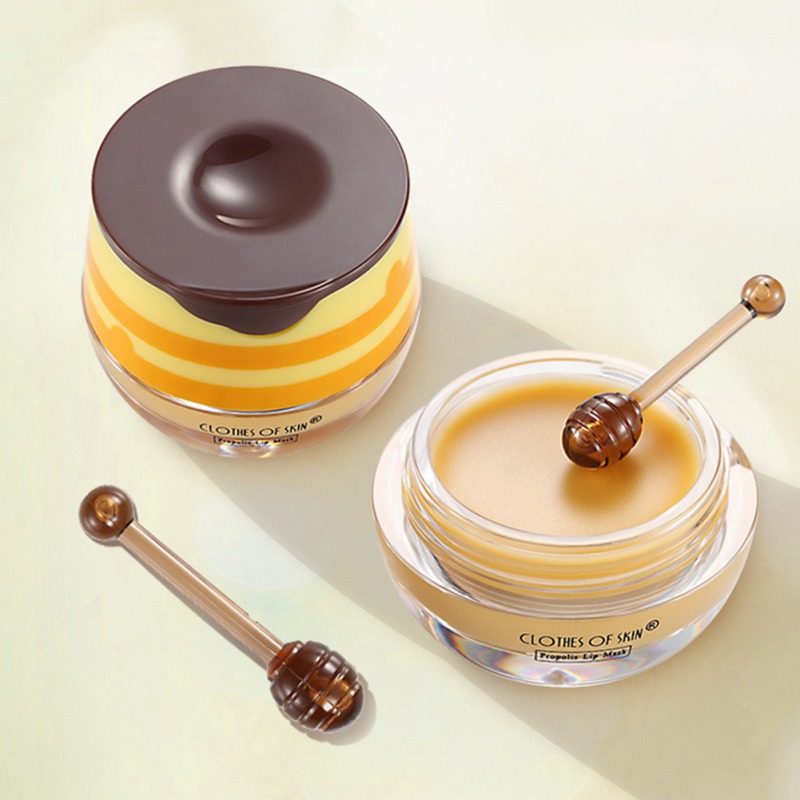 Propolis Lip Mask Moisturizing Smooth Fine Lines Brighten Lip Tone Anti-drying Lip Care Cream