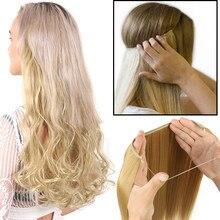 Extensiones de cabello de línea de pescado para mujer, hilo Invisible, sin Clip, Halo, 24