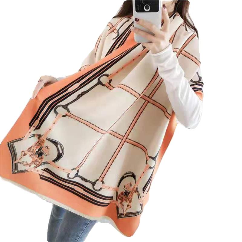 Luxury Brand 2019 Winter Scarf Women Fashion Horse Print Shawls And Wraps Thick Warm Cashmere Scarves Pashmina Large Echarpe