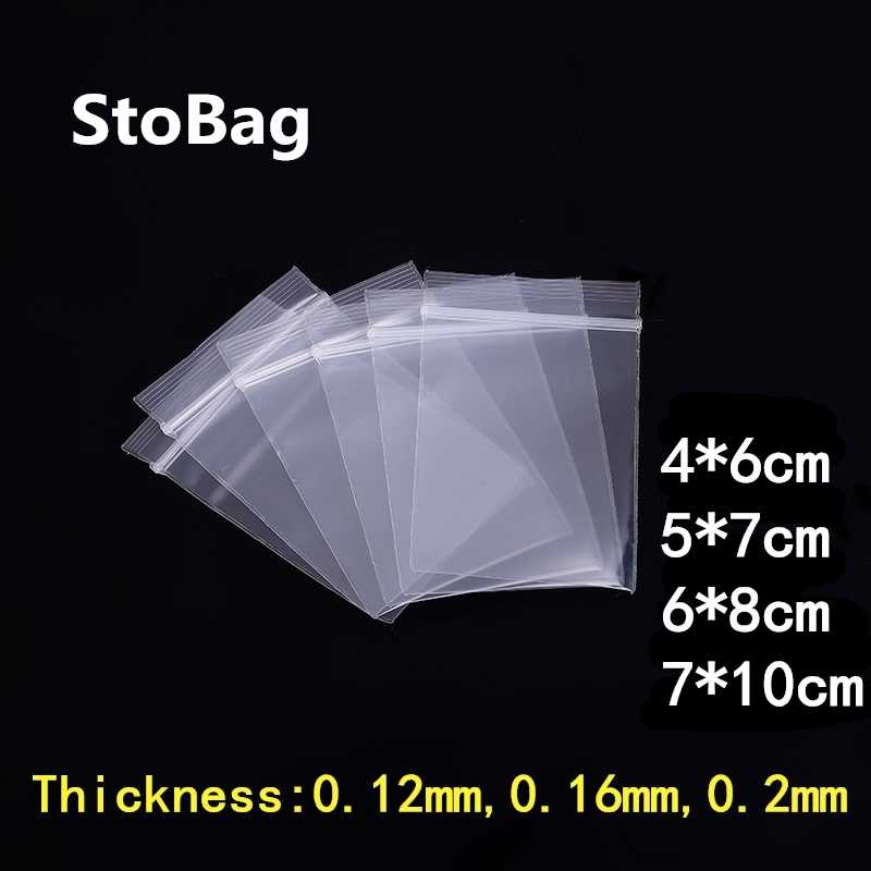 100pcs Thick Transparent Small Zip Lock Plastic Bags Buttons Screws Electronic Product Zipped Lock Reclosable Food Storage Bag