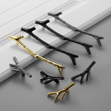 Furniture Cabinet Drawer Handle Knob Kitchen Metal Zinc Gold Silver Black Tree Branch Twig Cupboard Wardrobe Closet Door Pull
