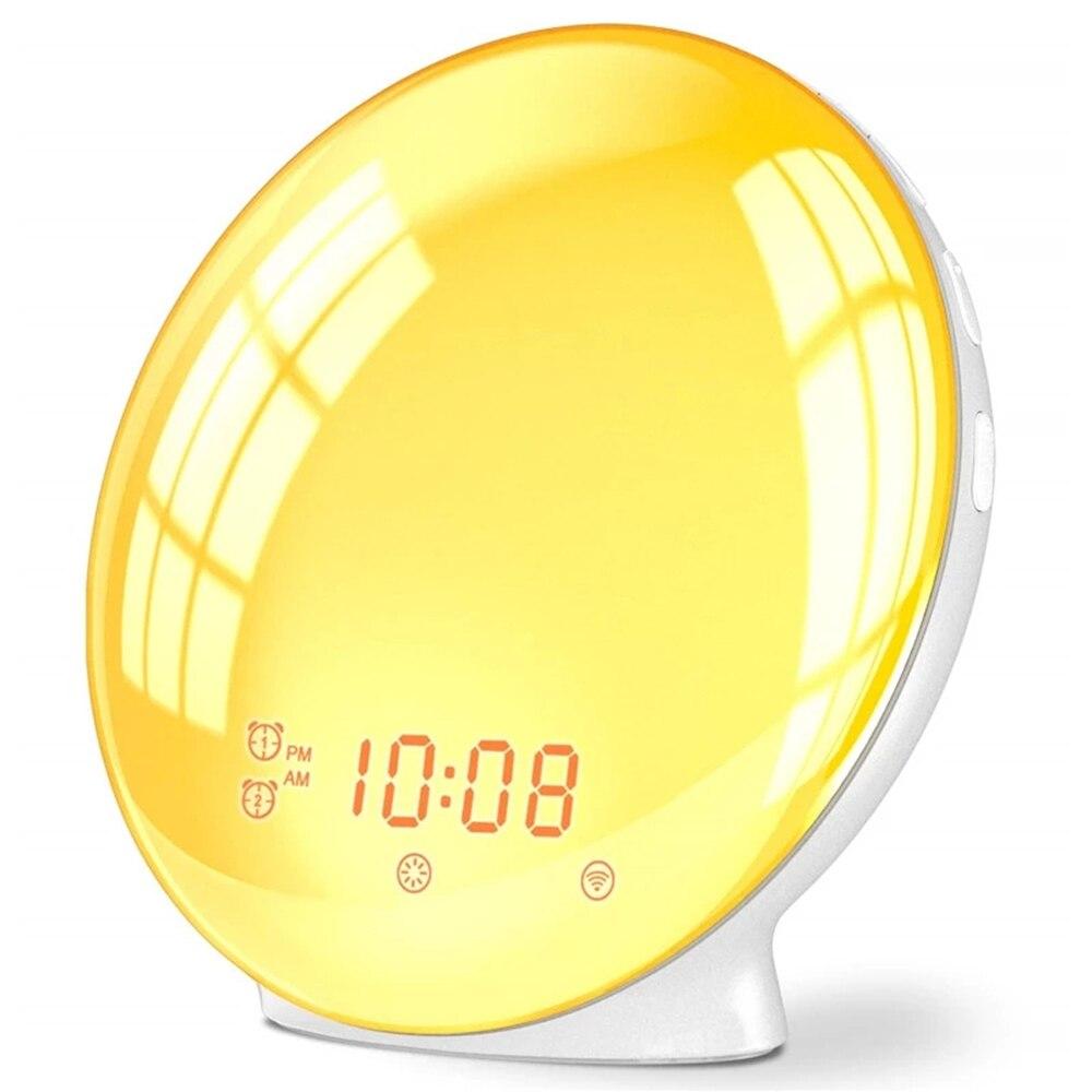 Цифровой будильник с функцией повтора звука, ночник с поддержкой симуляции восхода и сна, цветсветильник светильник с FM-радио