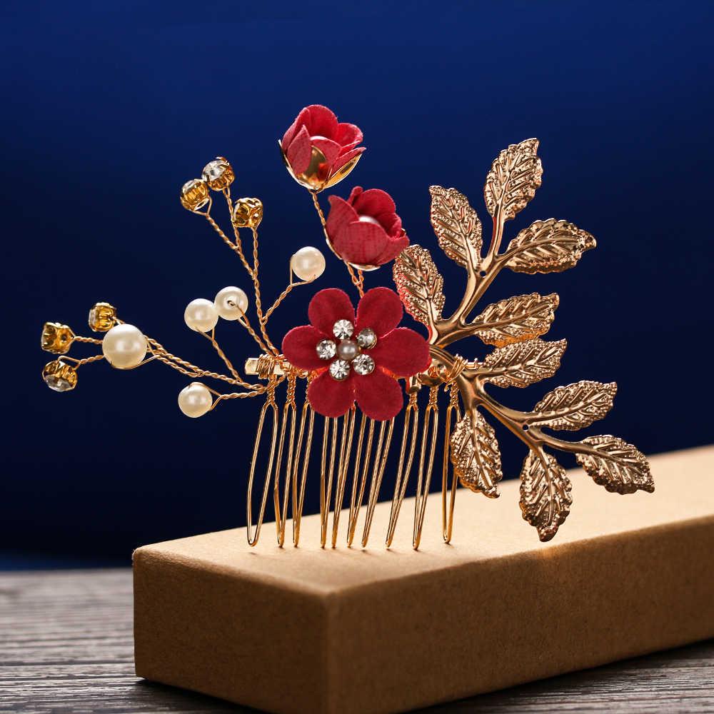 Moda luksusowa niebieska kwiatowa do włosów grzebienie stroik Prom ślubne akcesoria do włosów ślubne złote liście biżuteria do włosów szpilki do włosów