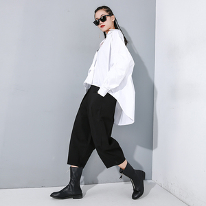 Image 2 - [EAM] Women White Asymmetrical Split Big Size Blouse New Lapel Long Sleeve Loose Fit Shirt Fashion Tide Spring Autumn 2020 1N189