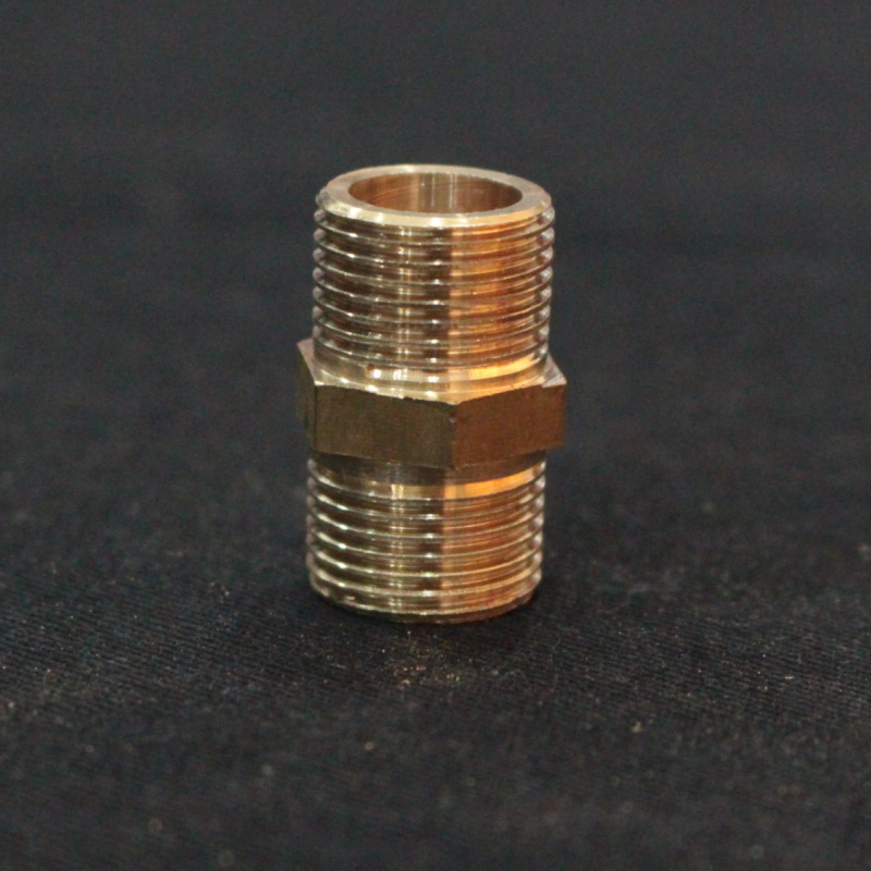 (Thick-) Brass Double External Teeth Straight Joint Double Wire Lam Teeth 1-2-Inch Teeth Outside Straight Connector Silk Copper