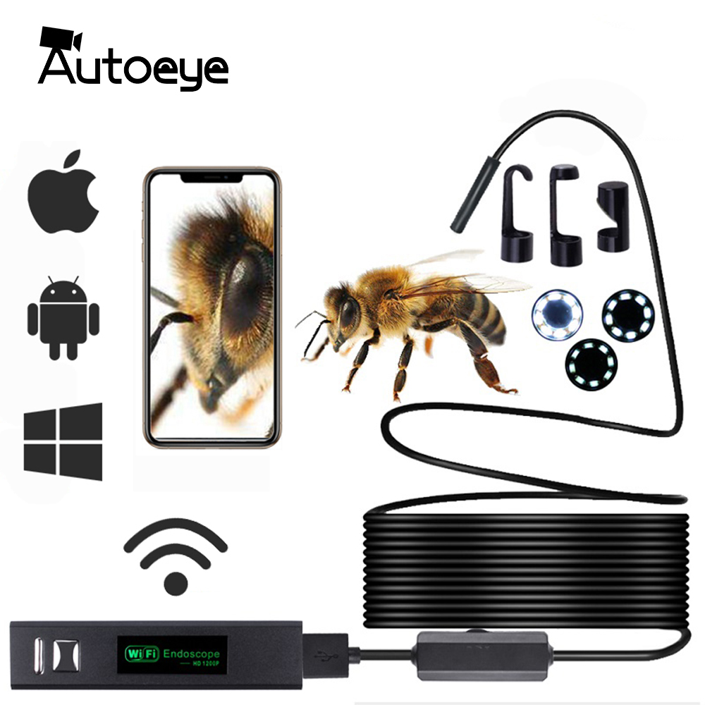 WIFI Endoscope Camera HD 1200P 10 5 3 5 2 1M Mini Waterproof Hard Wire Wireless 8mm 8 LED Borescope Camera For Android IOS Mac W