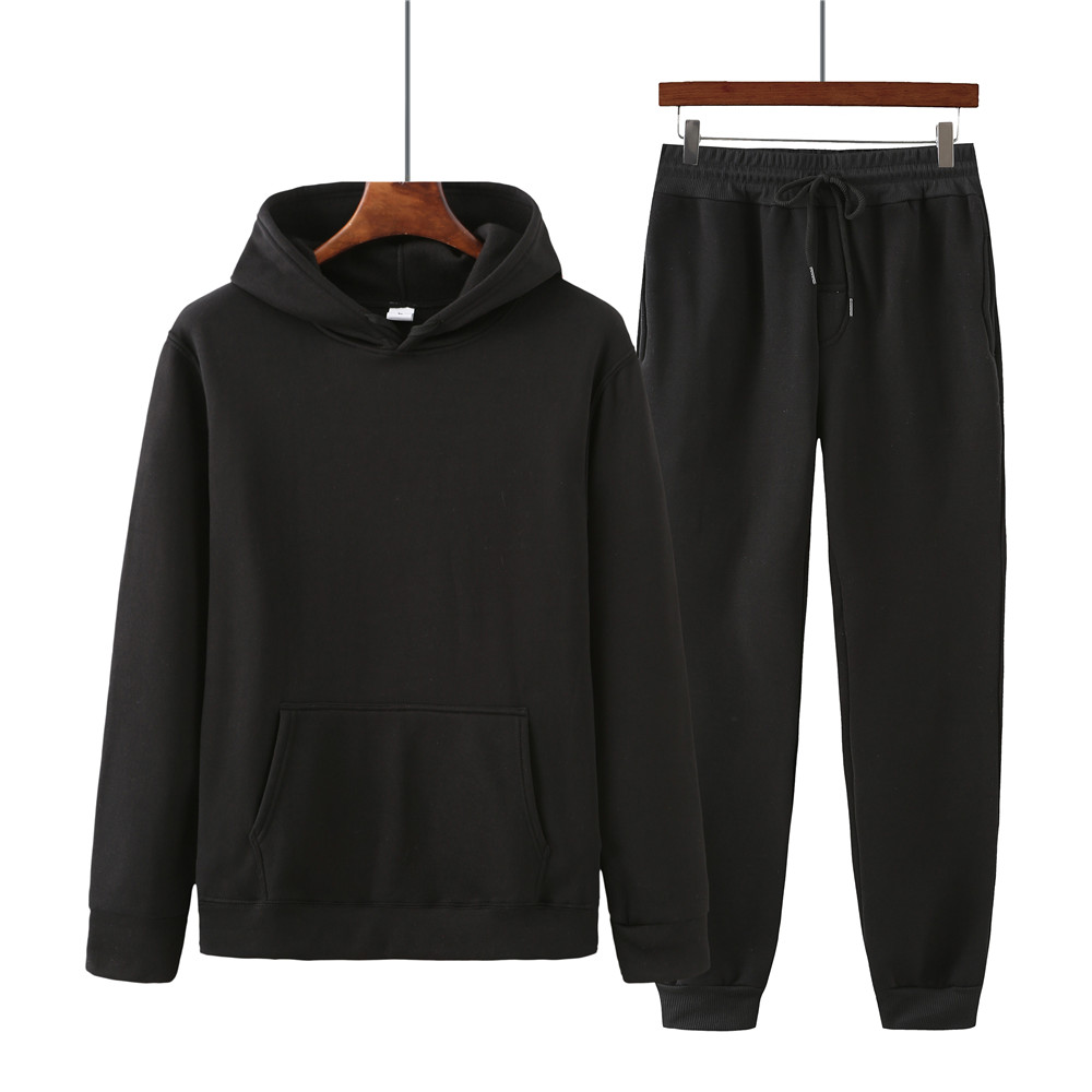 Spring and autumn men's solid color hooded sweater + trousers suit men's sports and leisure two-piece suit of the same color