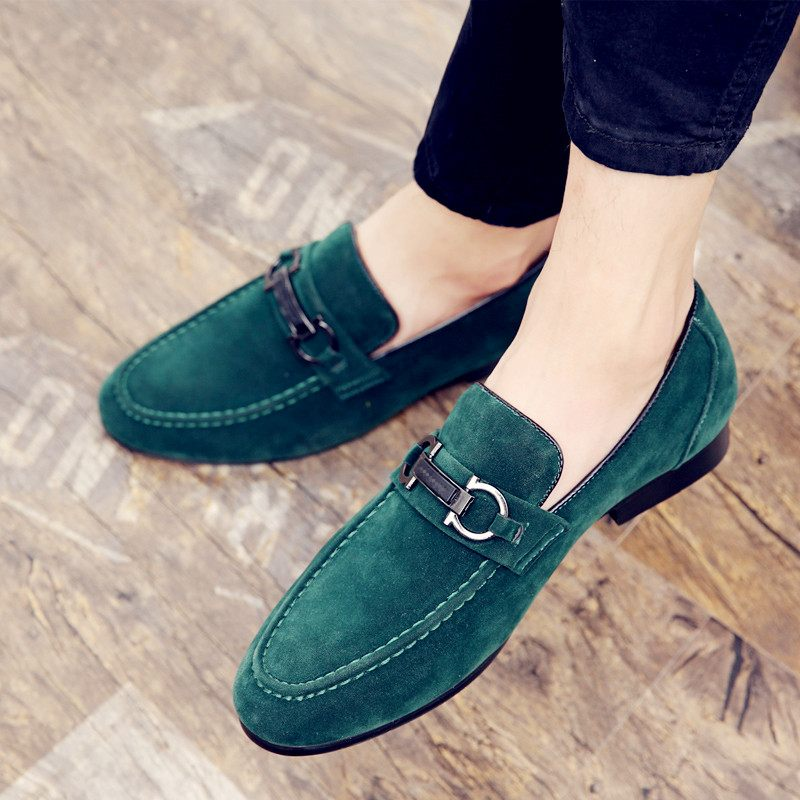 Spring Men Youth Casual Shoes Casual Slip On Shoes Man Comfortable Loafers Men Shoes Green Black Suede Leather Men Shoes