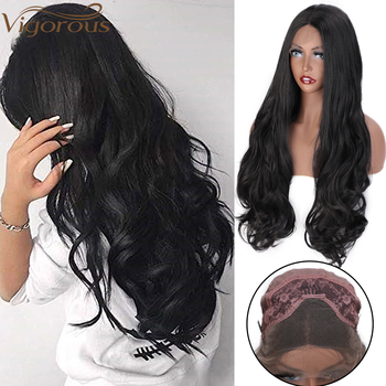 Vigorous Black Long Hair Wavy Middle Part Synthetic Lace Front Wig For Women Blonde Grey Heat Resistant Fiber