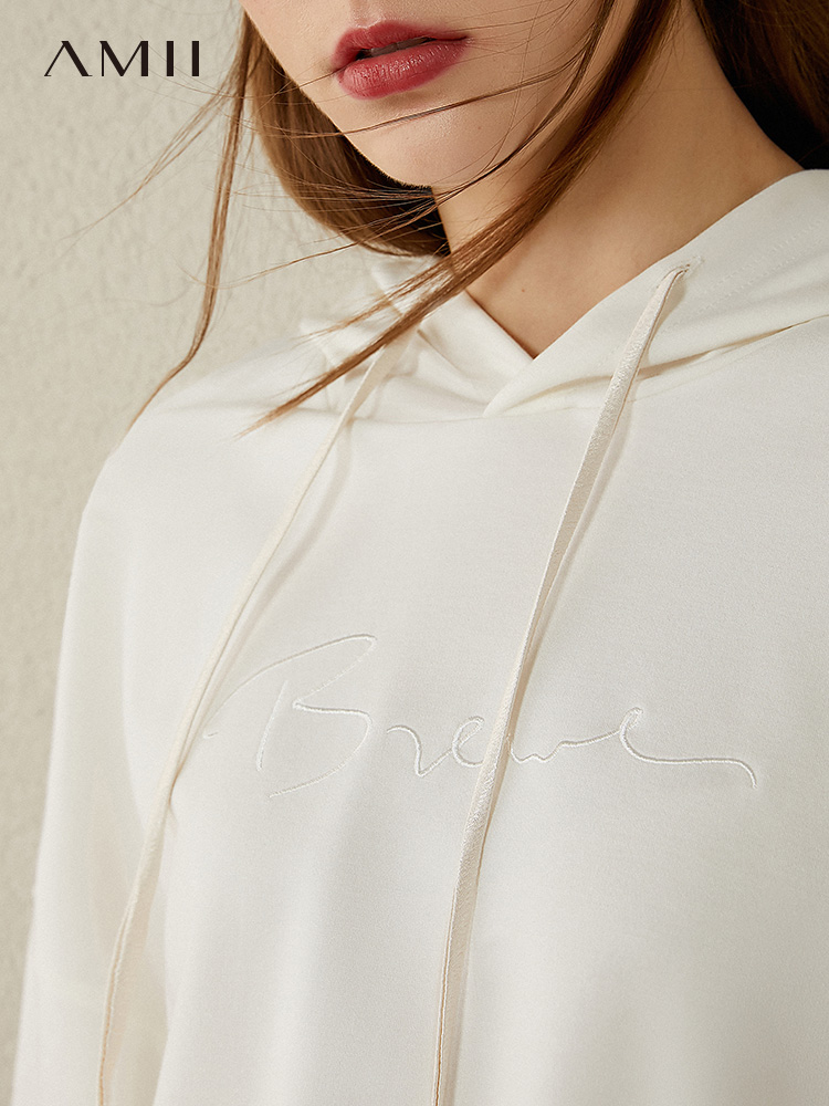 AMII Minimalism Autumn Causal Women Hoodies Set Embroidery Hooded Loose Sweater Hoodies Solid ElasticWaist Female Pants 12040389 2