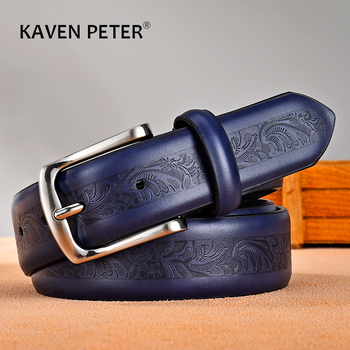 Belts For Men High Quality Male Fashion Printing Stamp Classic Vintage Pin Buckle Strap Cowboy Jeans