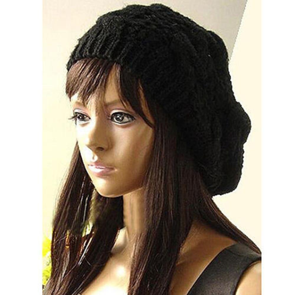 NIEUWE aanbieding Mode Mannelijke Dame vrouwen Knit Winter Warm Haak Hoed Gevlochten Baggy Beret Beanie Cap For a Vrouwen