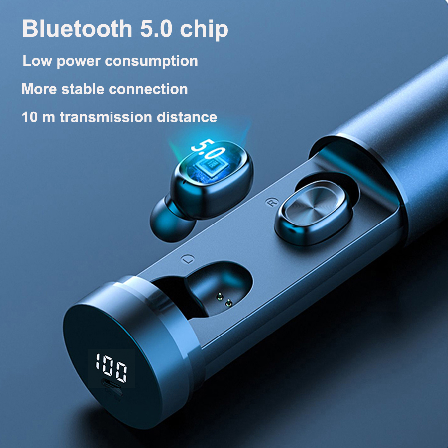 TWS Waterproof Bluetooth5.0EDR Fashion Wireless Earphone 8D HIFI Sport MIC Earbuds AUTO Gaming Music Headset For Iphone Android