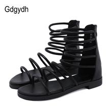 Gdgydh Fashion Gladiator Sandals Woman Flat Heels Sexy Black Ladies Summer Shoes Cut-outs Open Toe Sliver Sandals Size 35-40 original intention super sexy women sandals thigh high cut outs open toe thin heels sandals gold shoes woman plus us size 4 15