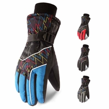 Men Outdoor Winter Skiing Gloves Full Finger Thick Water Resistant Anti-slip Thermal Fluffy Handwear Cycling Accessories цена