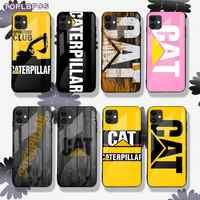 TOPLBPCS-funda de teléfono de cristal templado para iPhone, protector de lujo con logotipo de Caterpillar, para iPhone 8 7 6 6S Plus X XR 11 pro XS MAX