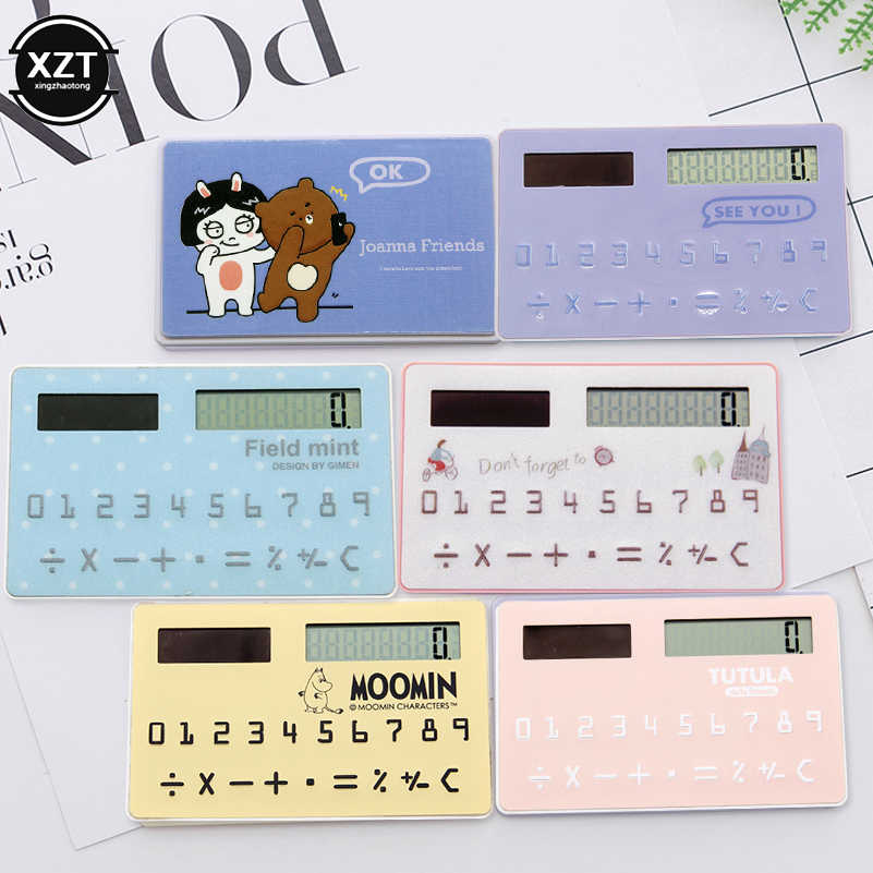 Mini Card Calculator Fashion Stationery Supplies Solar Calculator Children Gift Cartoon Fruits Animal Student 8-Digit calculator