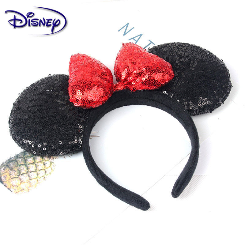 Disney Lovely Girls Bows Minnie Mickey Headband Ears Hair-Accessories Kid Women Head-Accessories Headdress Head Band Party
