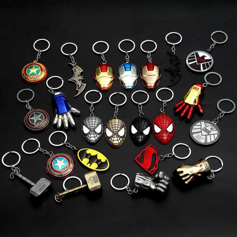 Marvel The Avengers Keychain Martello di Thor Thanos Guanto di Sfida Captain America Shield Hulk Batman Maschera Anello Chiave Del Pendente Del Commercio All'ingrosso
