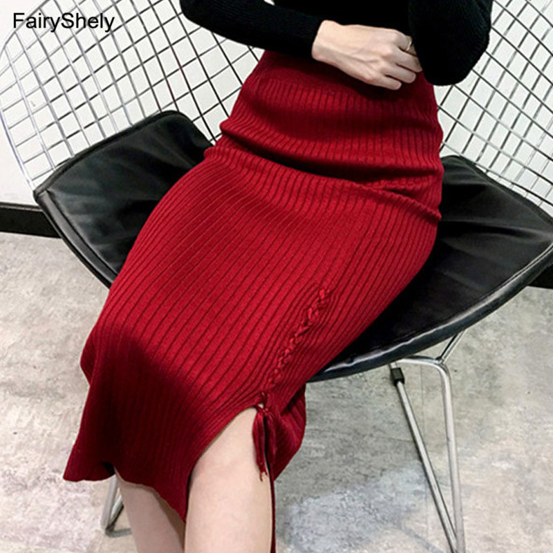 2019 Women Wine Red Knitted Long Skirt Autumn Winter Sexy Split Slim Office Pencil Skirt Ladies Warm High Waist Maxi Skirt Black