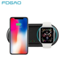 FDGAO 2 ב 1 10W צ י אלחוטי מטען עגינה תחנת שעון מטען מהיר טעינת Pad עבור אפל שעון 2 /3/4/5 iPhone 11 פרו X Xs