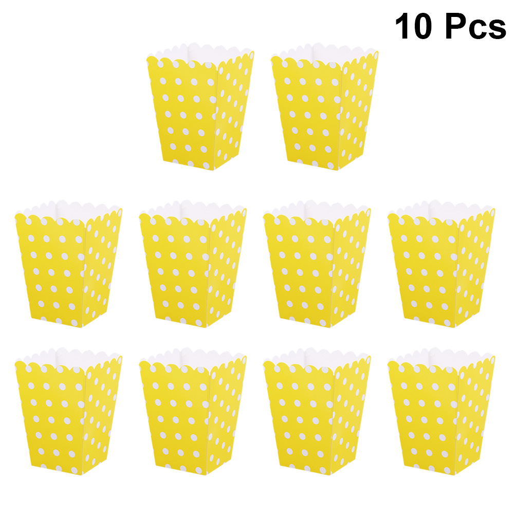10pcs Dot Paper Popcorn Boxes Bags Holder Containers Cartons Popcorn Box Party Favors Supplies For Kids Children Movie Theater Gift Bags Wrapping Supplies Aliexpress