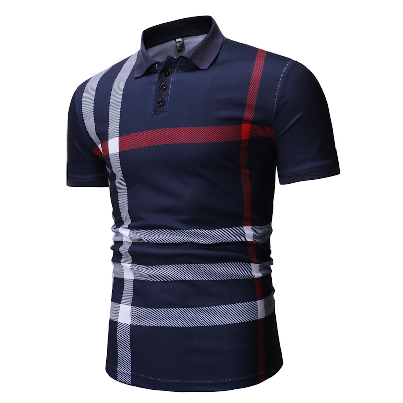 Cross Border Wholesale Foreign Trade Fashion Men'S Wear Printed Stripes Loose-Fit   POLO   Shirt