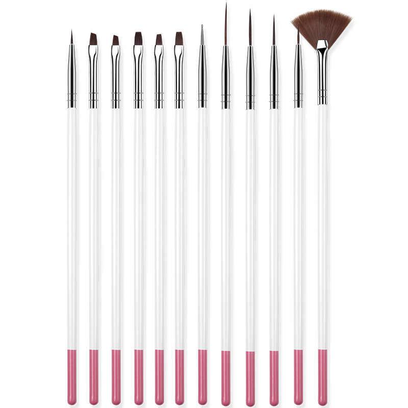 12 adet akrilik fırça tırnak resim fırçası oyma çiçek tırnak jeli kalem UV jel çizim boyama fırça kolu tırnak sanat araçları