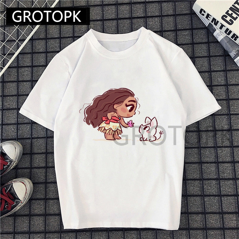 Moana And Elfin Kawaii T Shirt Women Cotton Summer Short Sleeve Vogue Princess Printed Fun Harajuku Tshirt Plus Size New T-shirt