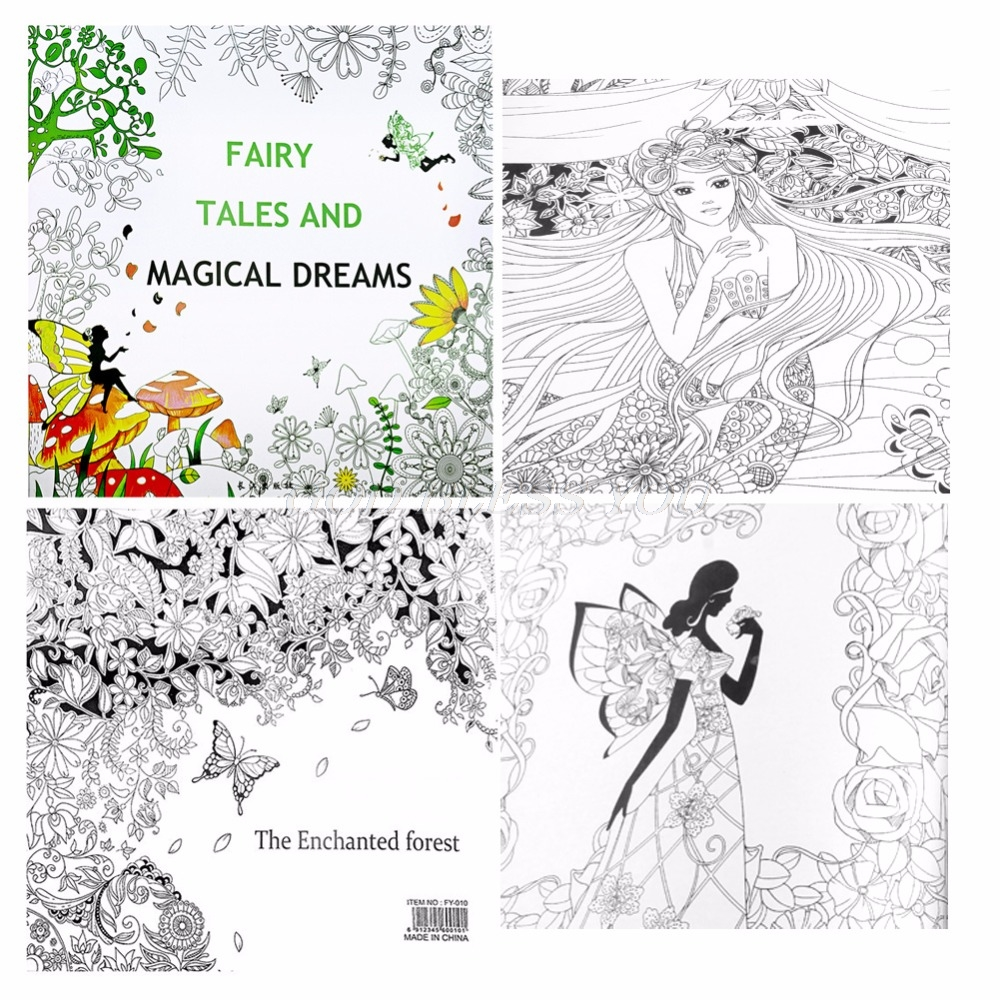 Fairy Tales And Magical Dreams Children Adult Graffiti Coloring Book 25*25CM Drop Shipping