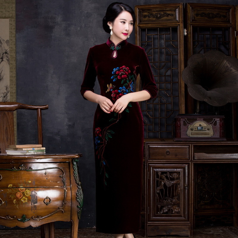 Vestido De Debutante Cheongsam Top-grade Split Long Sleeve Manufacturers Selling Hand-painted Banquet Of Cultivate Morality