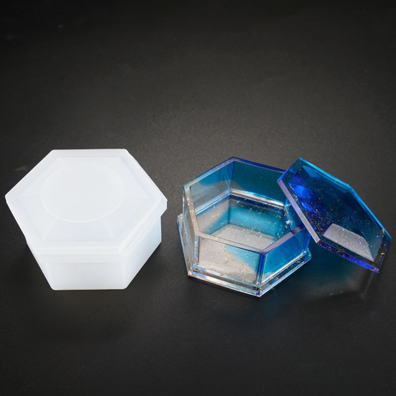 Hexagon Stripe Storage Jewelry Box DIY Crystal Epoxy Resin Mold Silicone Storage Box Mold Jewelry Making Tools