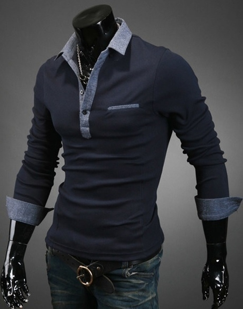 Zogaa Autumn Men Business   Polo   Shirt 2019 New Long Sleeve Slim Fit Men's   Polo   Top Comfortable Mens Patchwork Casual Cotton   Polo